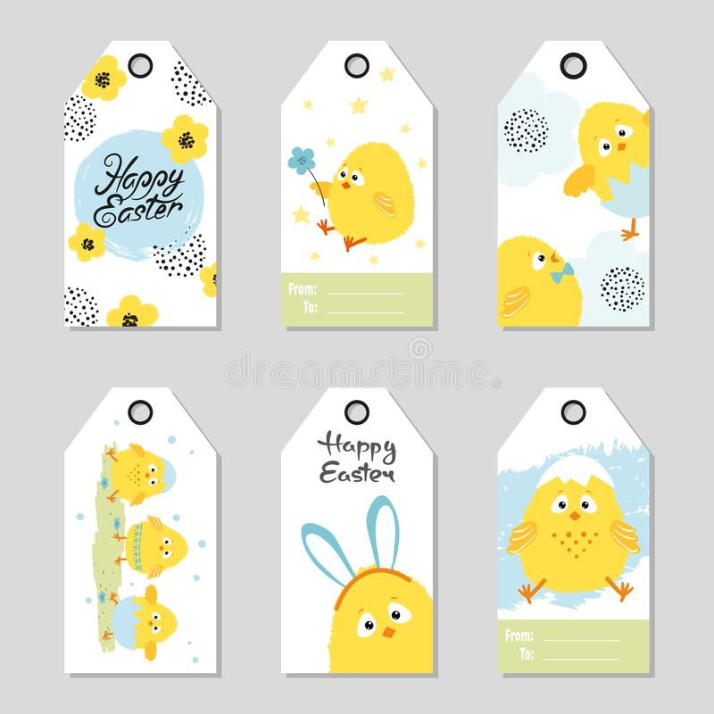 Easter gift tags with cute chickens. Vector holiday set vector illustration