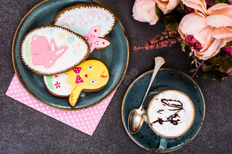 Easter gingerbread cookies with drawing. Studio Photo stock photo
