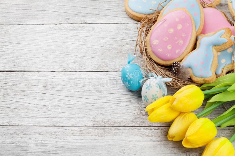 Easter gingerbread cookies and eggs stock image