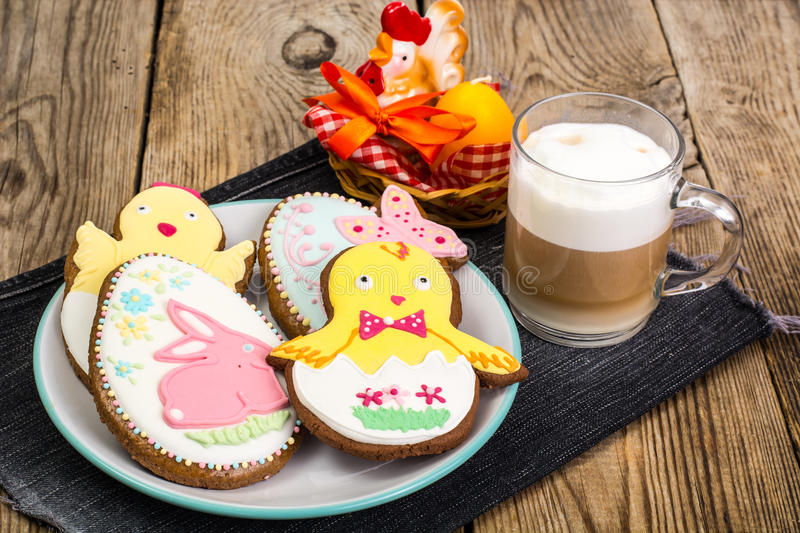 Easter gingerbread cookies with icing. Studio Photo stock images