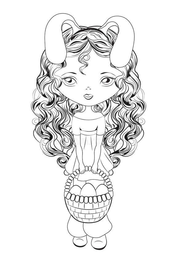 Easter girl vector illustration
