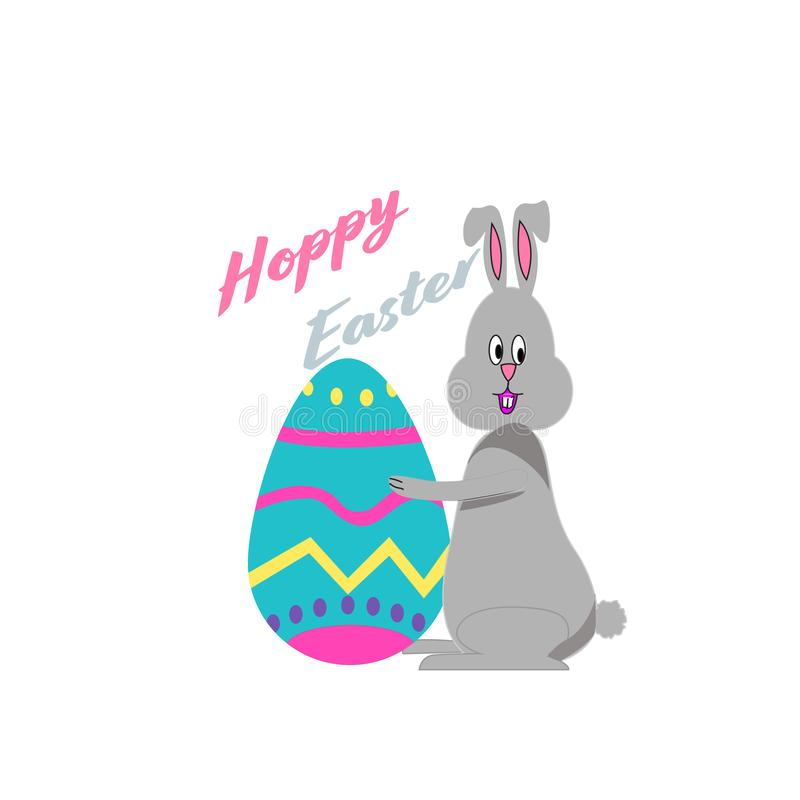 Happy Easter bunny holding egg royalty free stock image