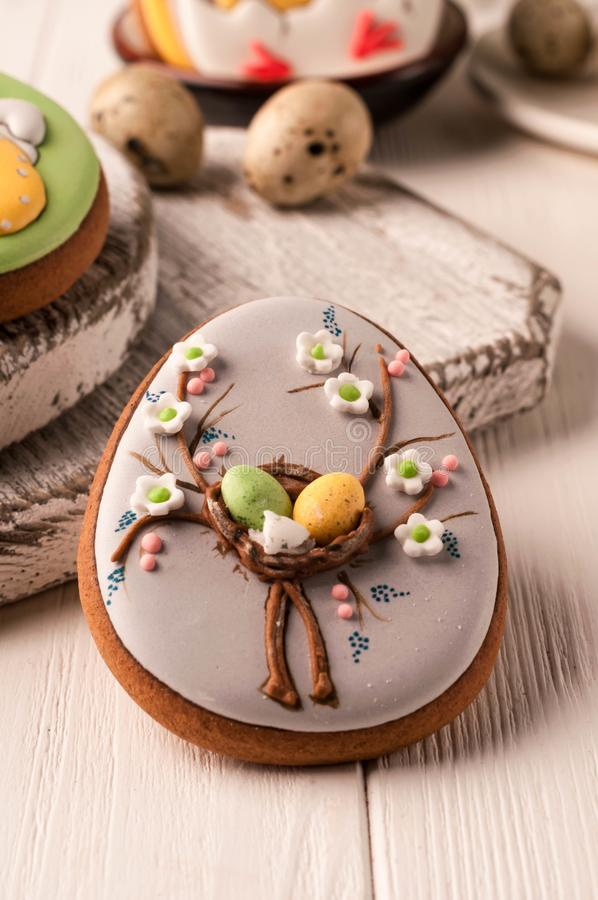 Easter gray cookie with easter eggs stock image