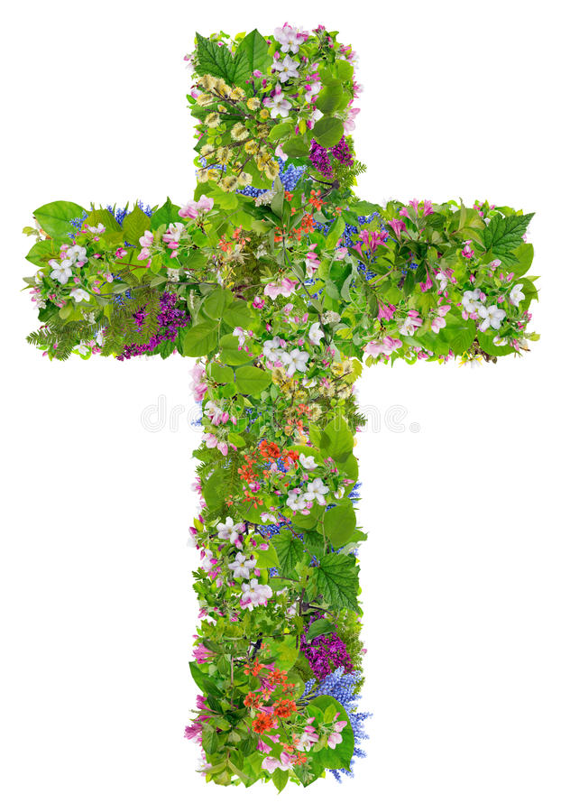 Easter green spring cross of Jesus stock image