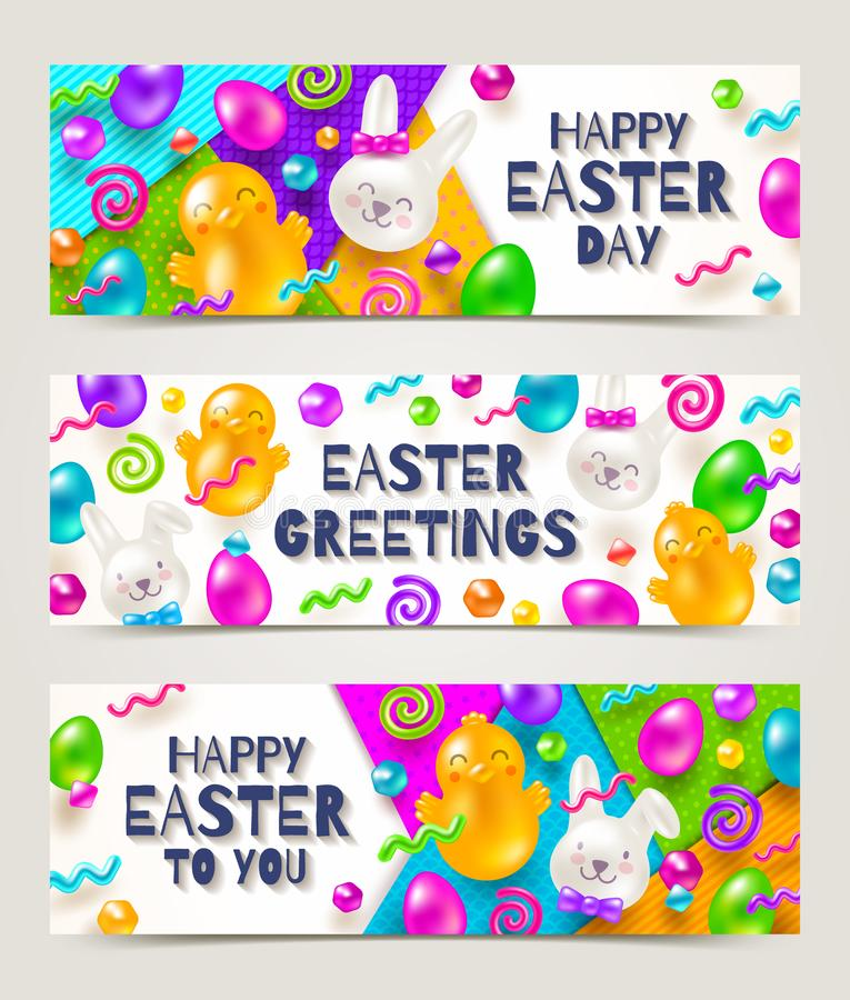 Easter greeting banners. Colorful marmalade and candys in the shape of rabbits, chickens, eggs and other forms. On a multicolored paper background vector illustration