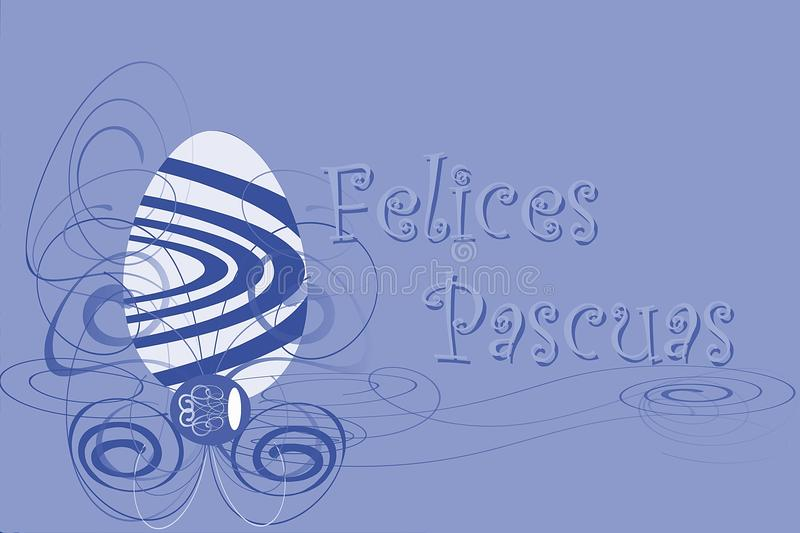 Easter greeting card with egg in spanish royalty free stock photos
