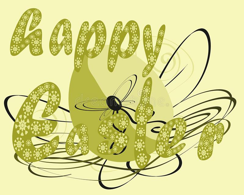 Easter greeting card with egg and decoration royalty free stock photos