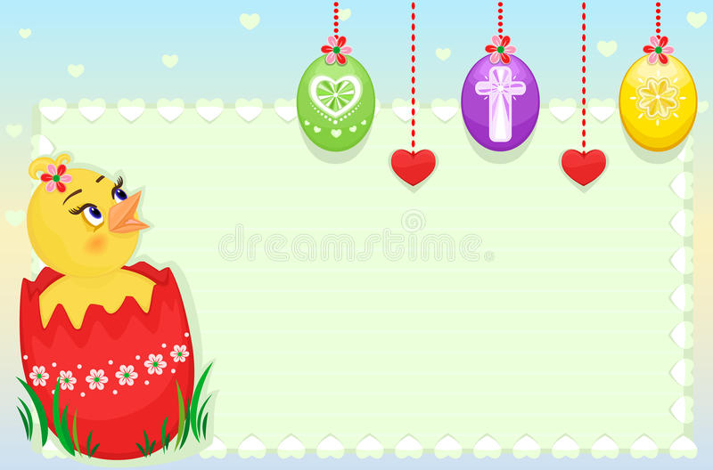 Download Easter greeting card stock vector. Image of chick, green - 13427081