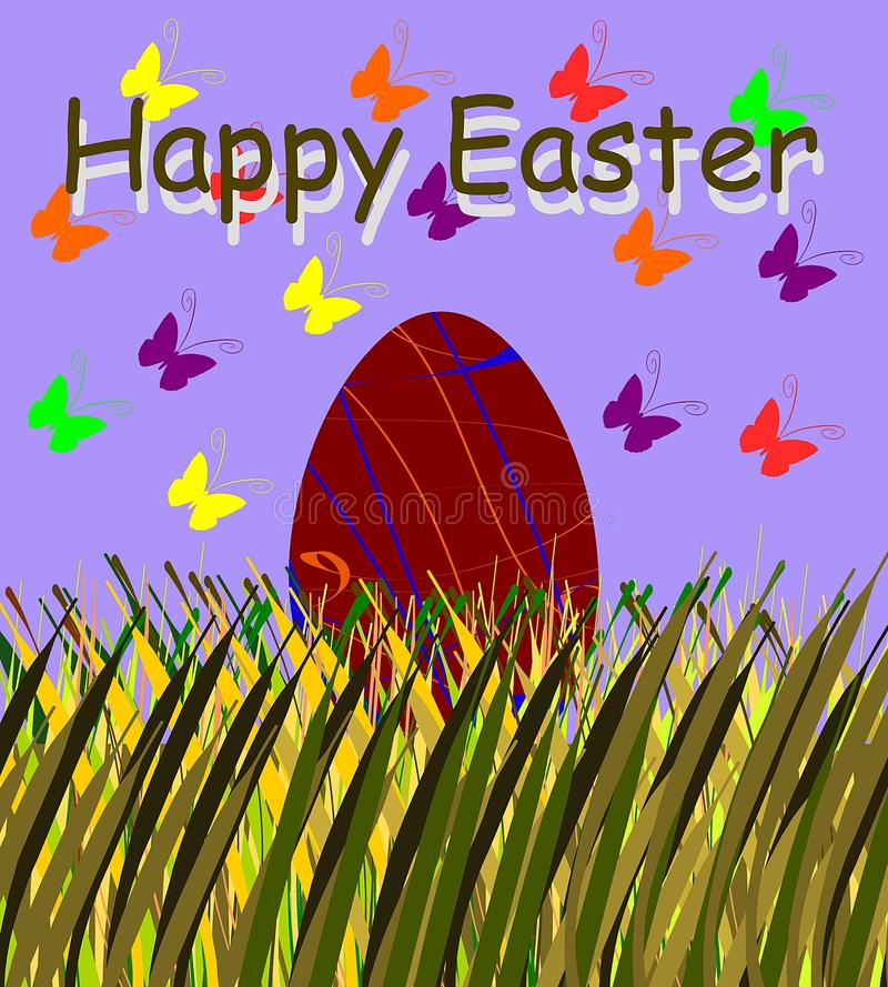 Easter greeting card with butterflies and egg stock photo