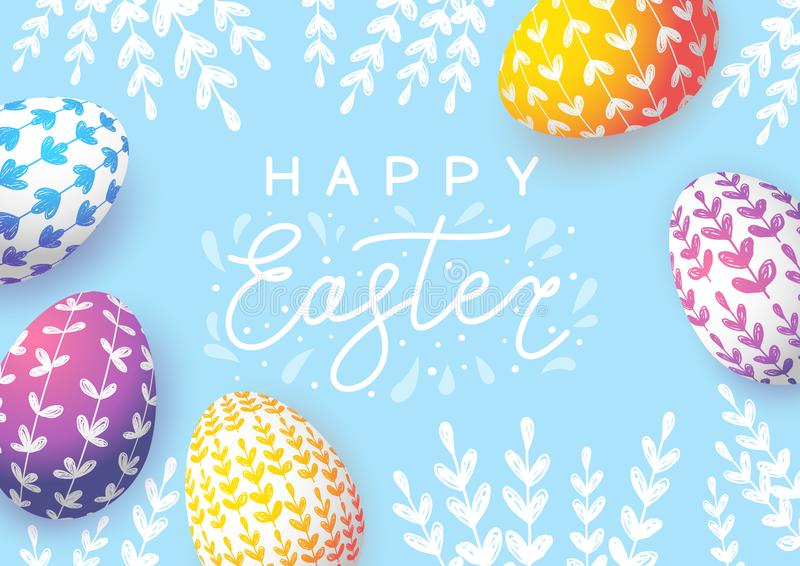 Easter greeting card with color eggs vector illustration