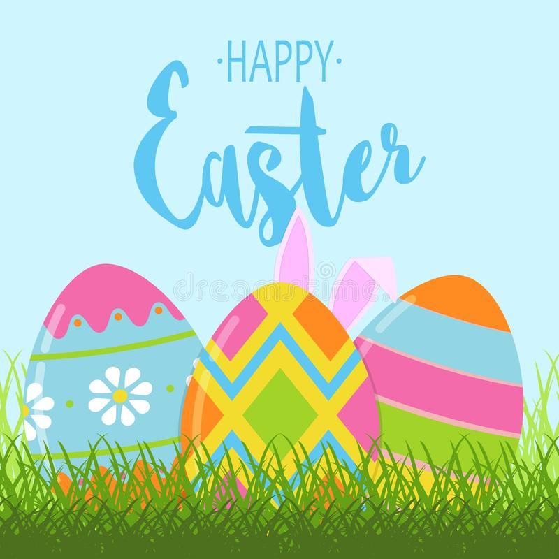Easter greeting card with colorful Easter eggs and bunny ears. Template for Easter banner design. Vector. vector illustration