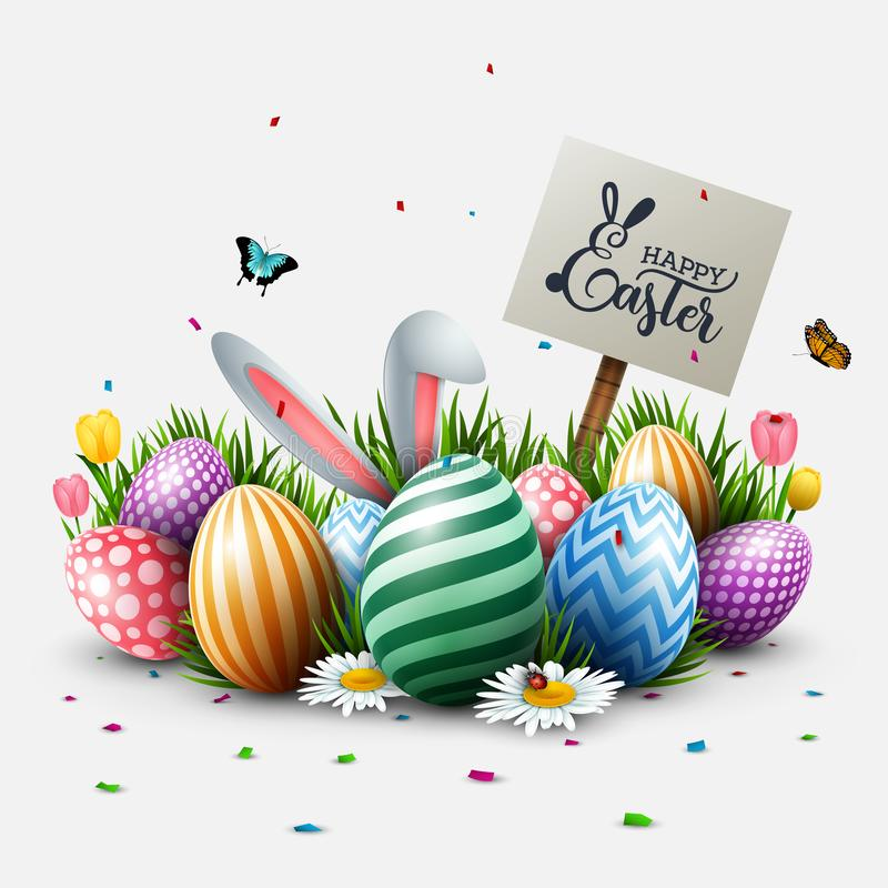 Easter greeting card with colorful eggs, flowers, bunny ears, insects, and signpost in the grass. Illustration of Easter greeting card with colorful eggs royalty free illustration