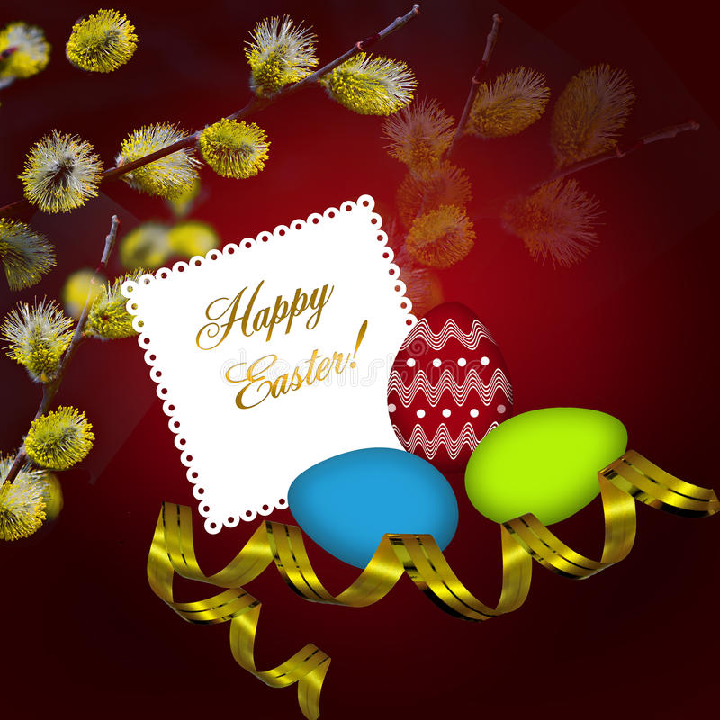 Easter greeting card with colorful eggs vector illustration