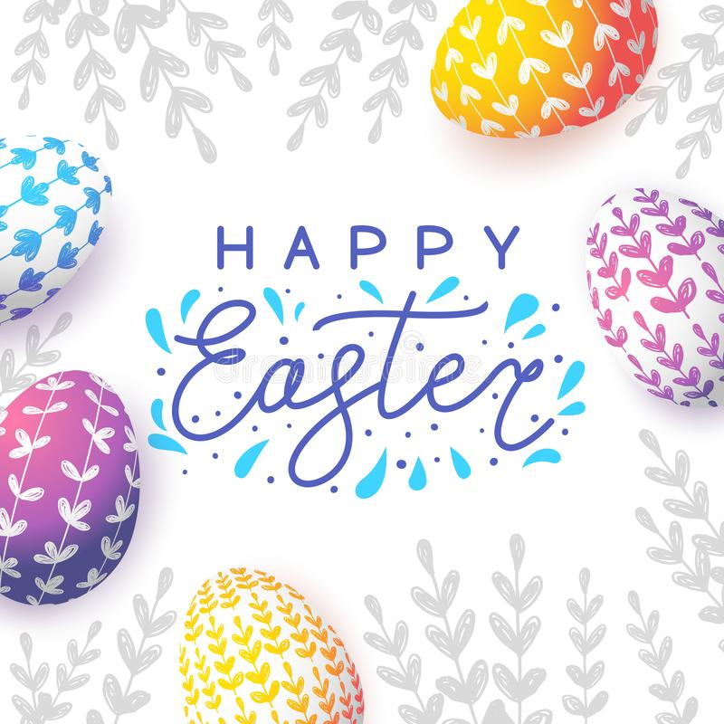 Easter greeting card with eggs royalty free illustration