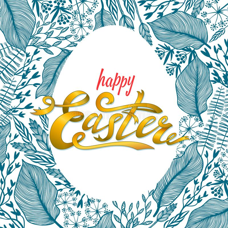 Easter greeting card with floral frame in egg shape. Herbal background. Perfect for season greeting cards and banners. vector illustration