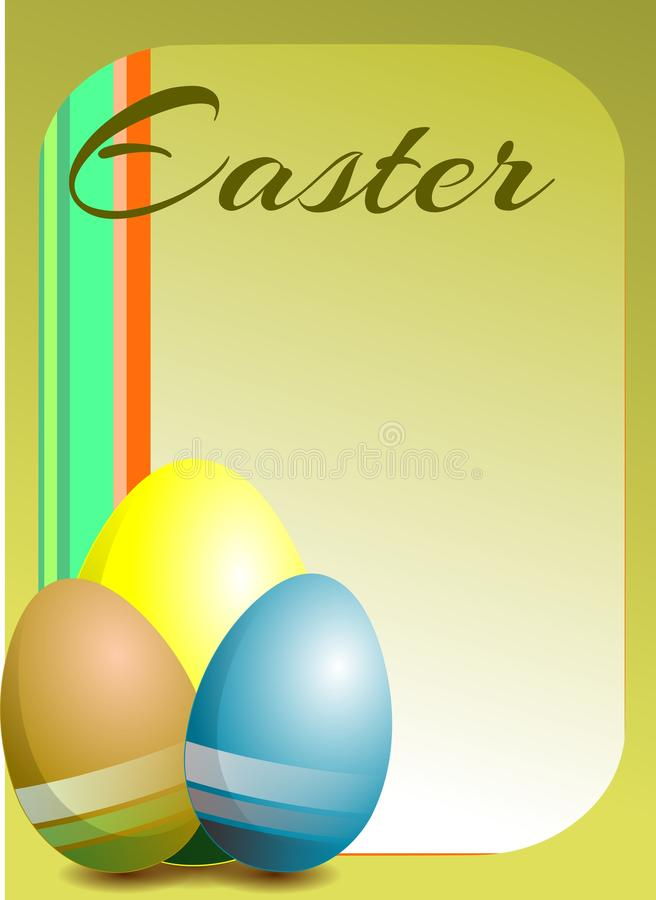 colorful Easter greeting card with eggs stock photos