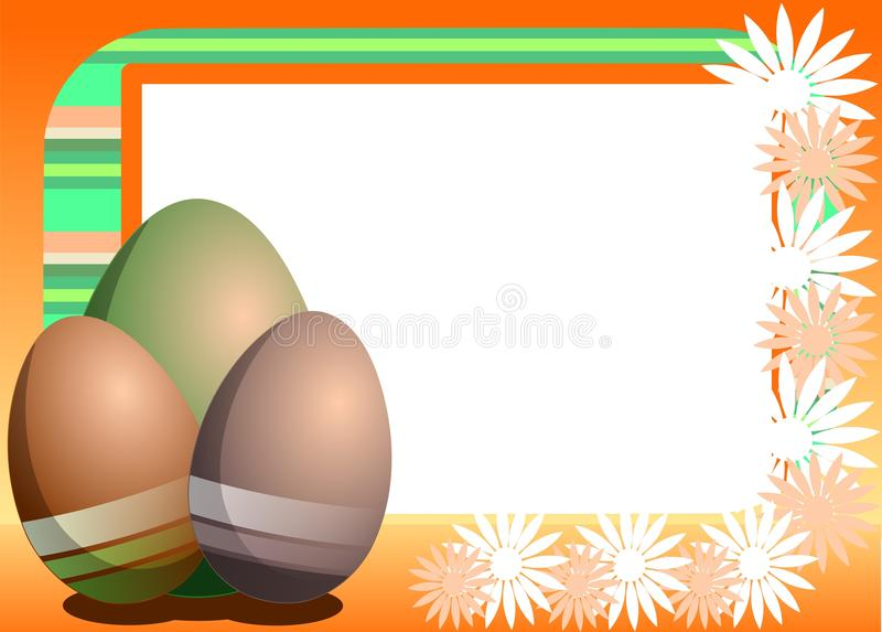 colorful Easter greeting card with eggs and flowers stock photography