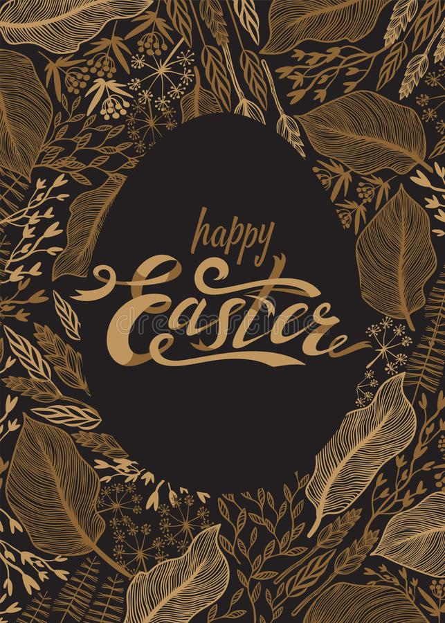 Easter greeting card. Easter lettering in gold on dark background with golden herbs and flowers. Vector illustration. royalty free illustration
