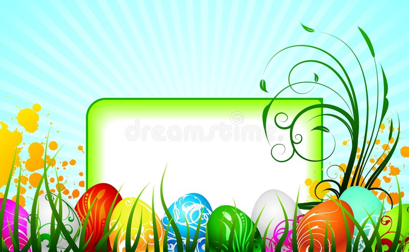 Easter greeting card with painted eggs. On spring background royalty free illustration