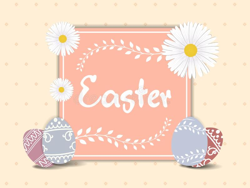 Easter greeting card template with beautiful colorful spring flowers and eggs. Vector illustration. stock illustration
