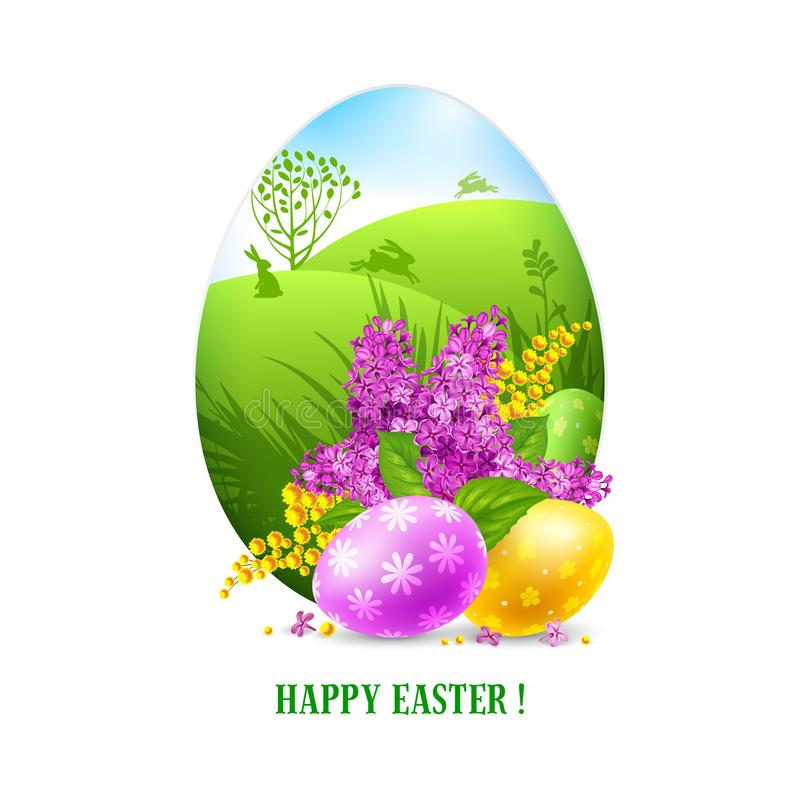 Easter Greeting Card Template Stock Vector  Illustration Of Lilac