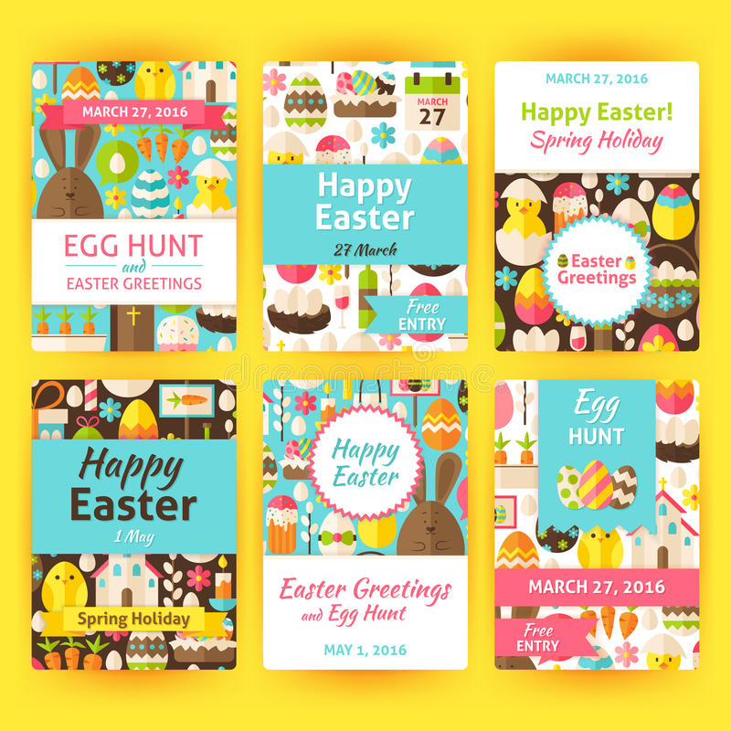 Easter greeting vector template invitation set in modern flat st easter greeting vector template invitation set in modern flat design vector illustration of brand identity for spring religious holiday promotion stopboris Image collections