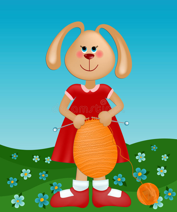 Download Easter Greetings Card With Rabbit Knitting The Egg Stock Vector - Image: 13129272