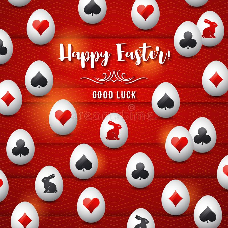 Easter greetings card with red and black gambling symbols over white eggs, vector illustration.Suitable for invitations, greeting stock illustration