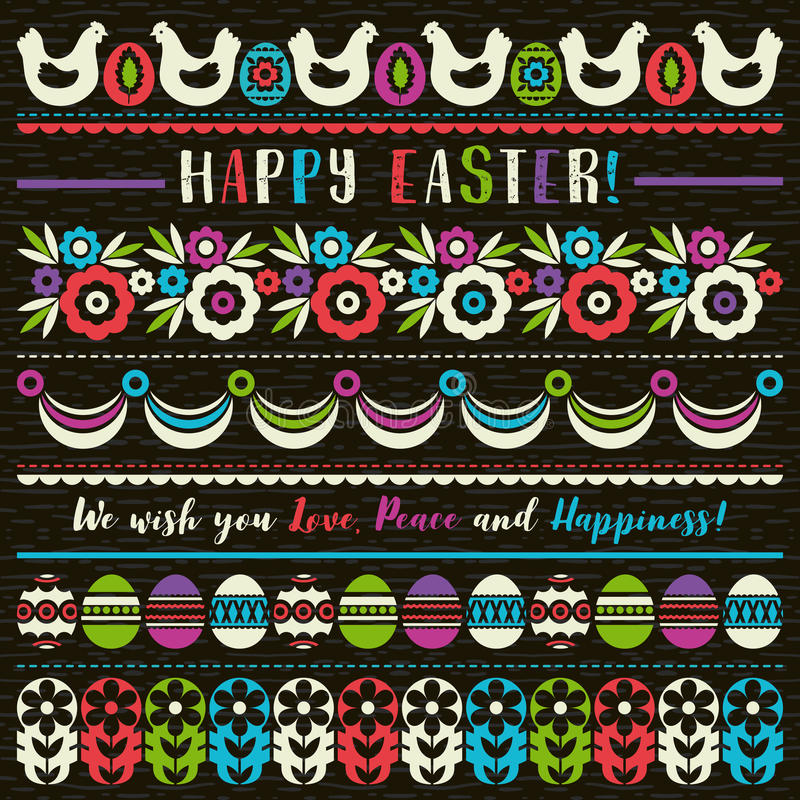 Easter greetings cards with color easter eggs, flowers and hen. Ideal for printing onto fabric and paper or scrap booking, vector. Illustration vector illustration