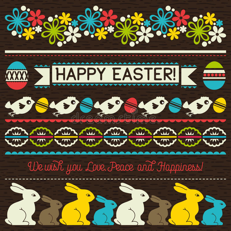Easter greetings cards with color easter eggs, flowers and rabbi stock illustration