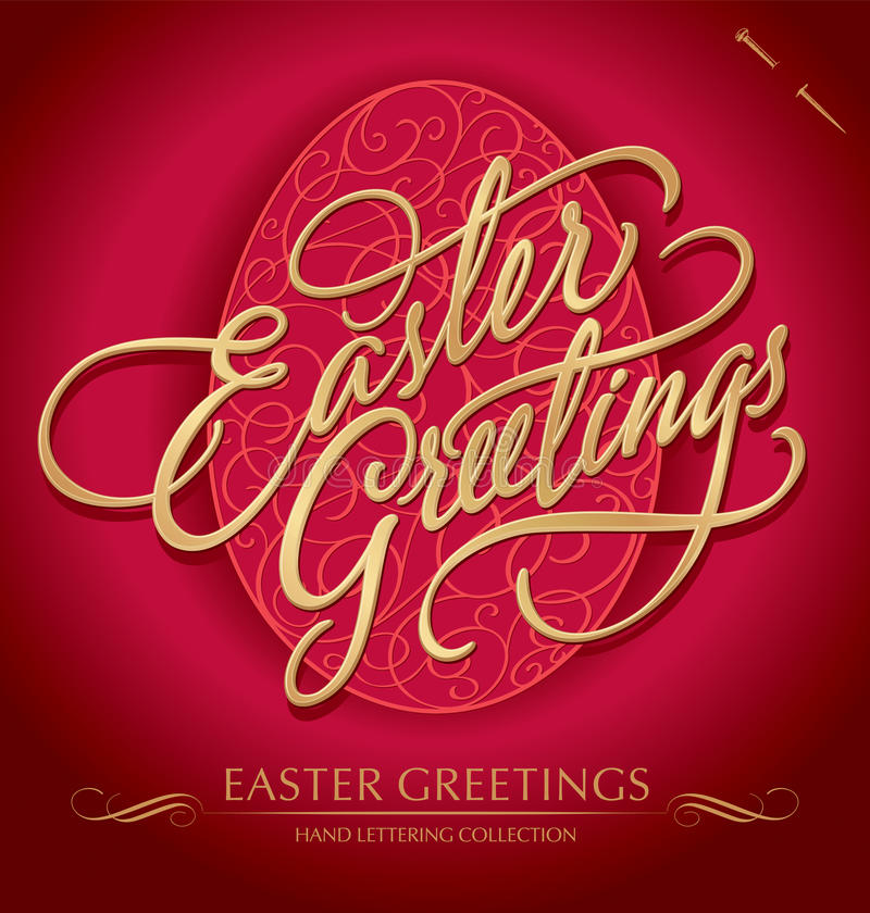 easter greetings hand lettering (vector) royalty free stock photo