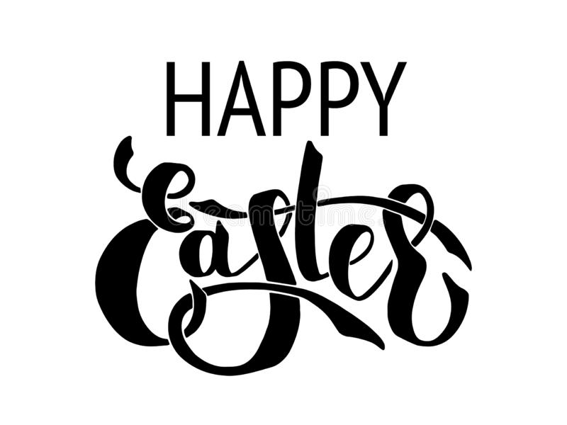 Hand Draw Lettering happy easter vector illustration