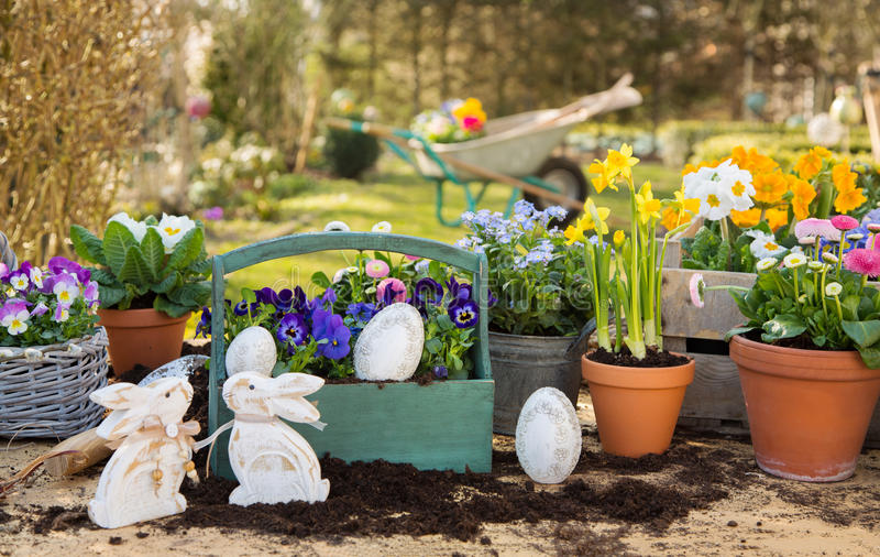 Easter handmade decoration with spring flowers and bunny at home royalty free stock image