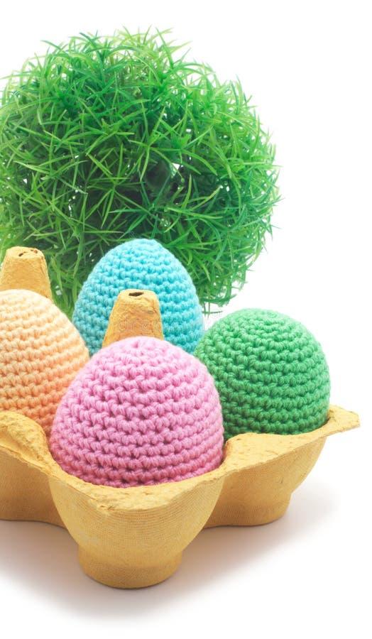 Easter handmade eggs with grass. stock photos