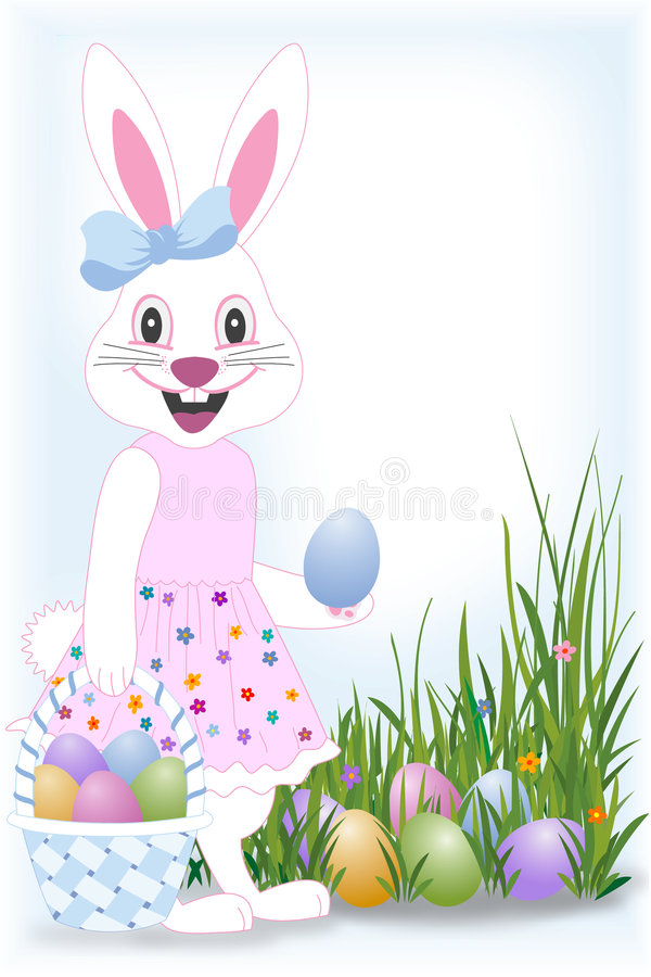 Easter happy bunny. Easter bunny with basket and eggs hidden in grass