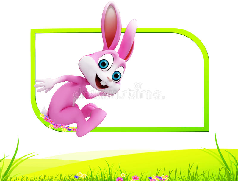 Easter happy bunny with jump stock illustration