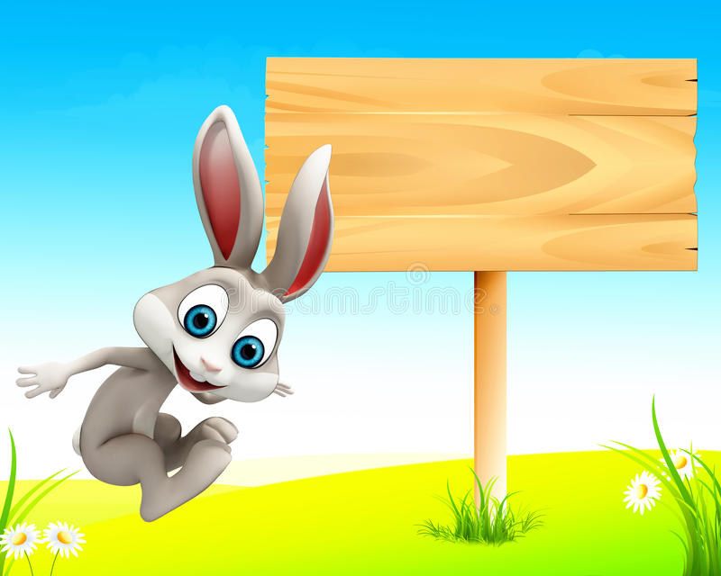 Easter happy jumping bunny with sign stock illustration
