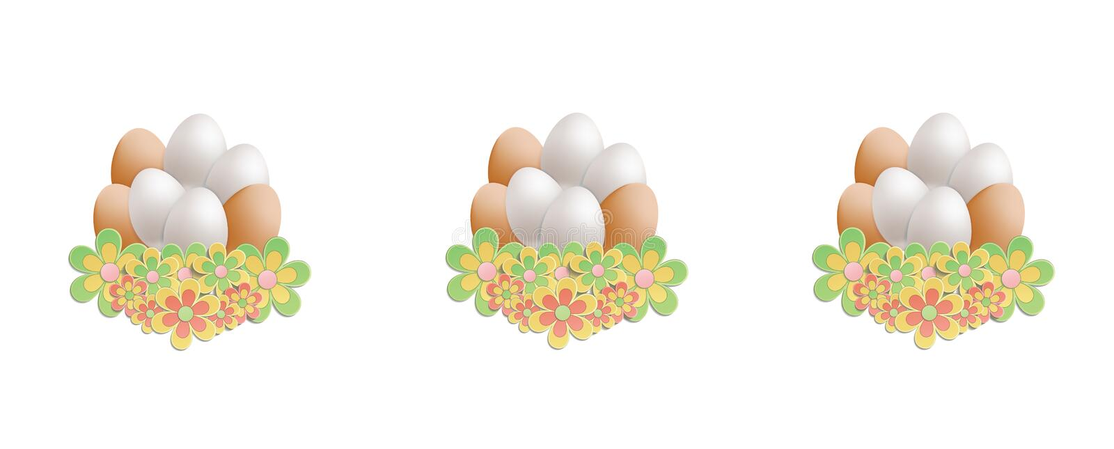 Easter heap of eggs in flowers on white background. Vector royalty free illustration