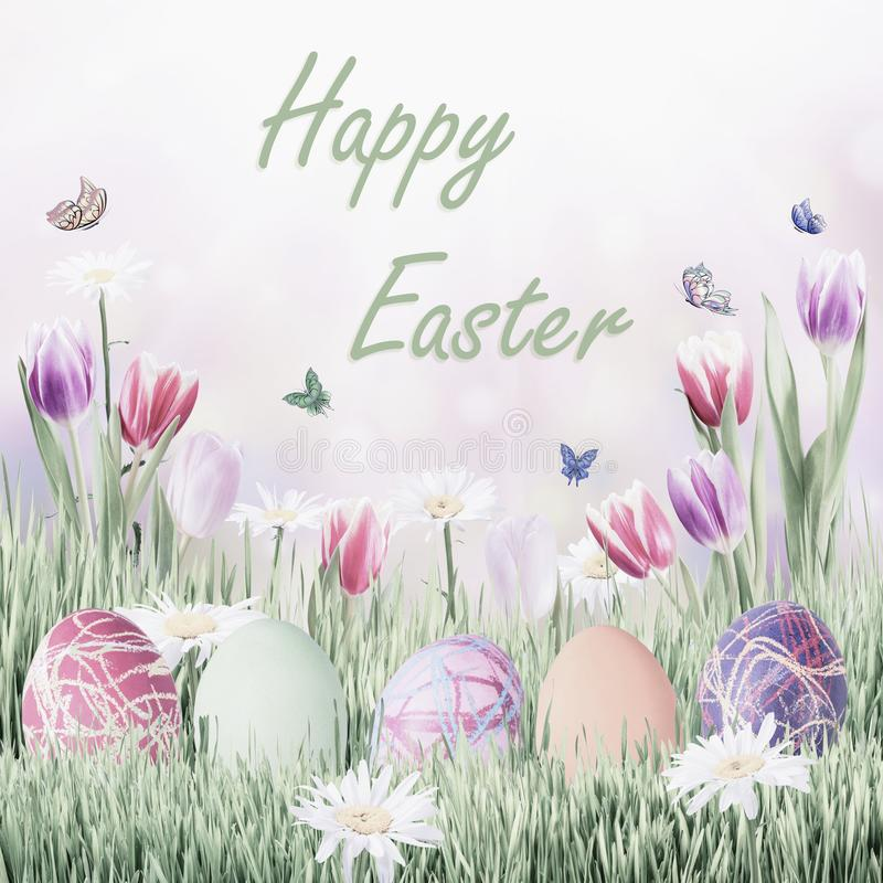 Easter Holiday Background. Happy Easter holiday vintage background with eggs and flowers royalty free stock image