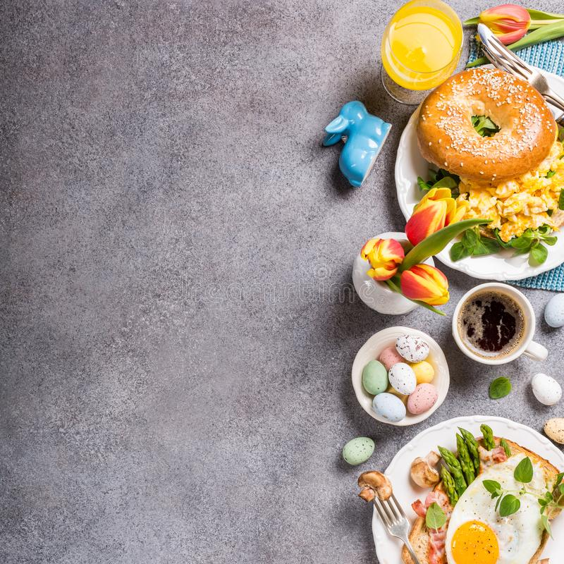 Easter holiday breakfast flat lay stock image