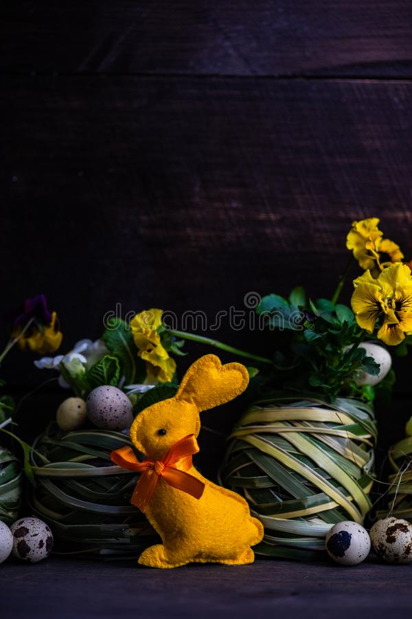Easter holiday card concept. Easter holiday natural composition with first spring flowers like tricolor violas and primerose , colored eggs royalty free stock photography