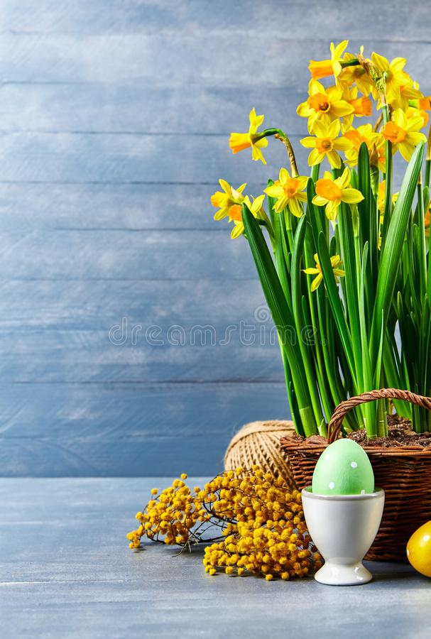 Easter holiday card with eggs yellow spring flower stock images