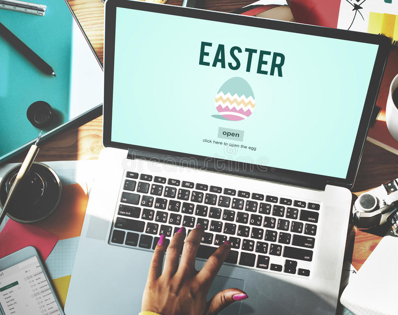Easter Holiday Celebration Webpage Concept.  royalty free stock photo