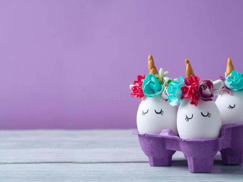 Easter holiday concept with handmade eggs royalty free stock images