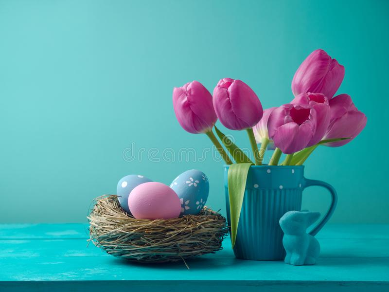 Easter holiday concept with tulip flowers stock image