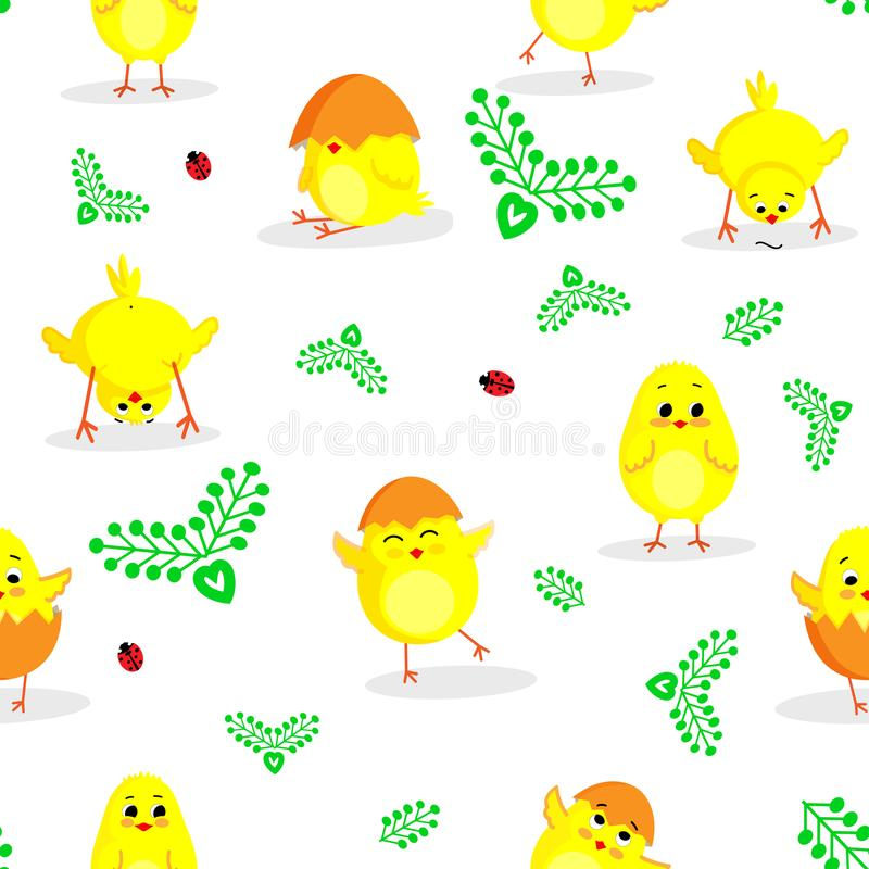 Easter seamless pattern with little cute chickens in vector. stock photography