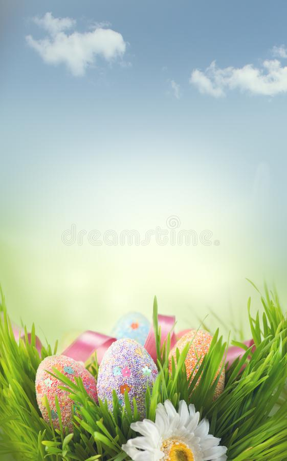 Easter holiday scene background. Traditional painted colorful eggs in spring grass over blue sky stock images