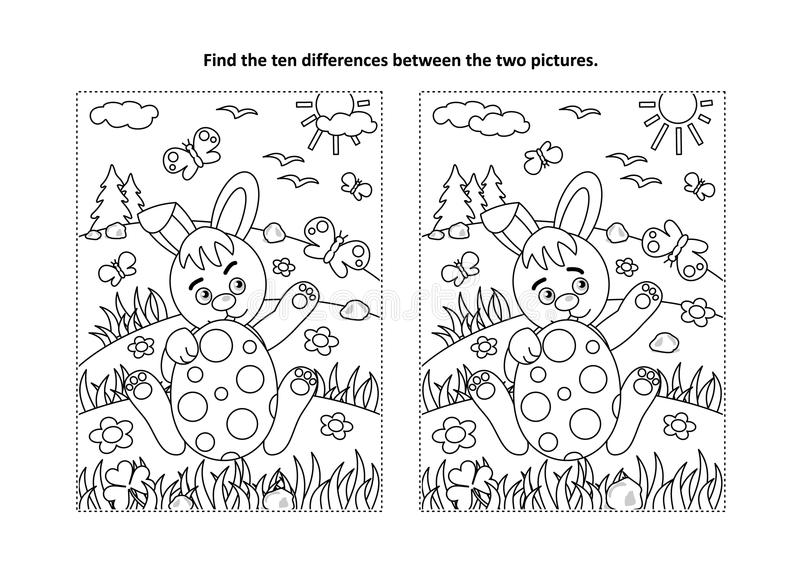 Easter find the differences visual puzzle and coloring page with bunny and painted egg royalty free illustration