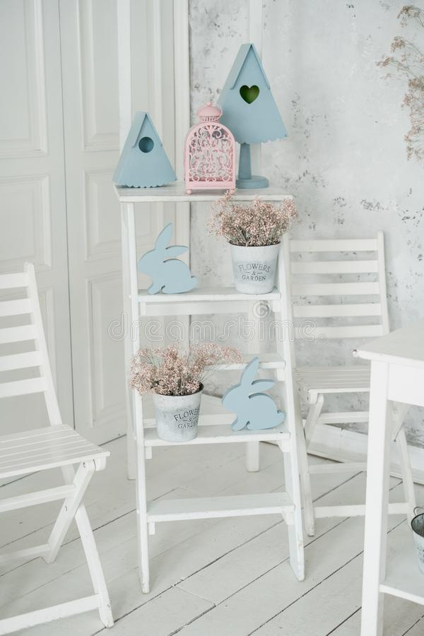 Easter Holiday Village Home Interior White Decor royalty free stock images