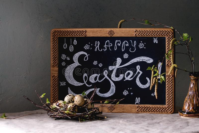 Easter holidays interior decorations stock image